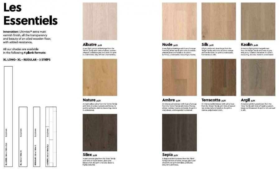 les Essentiels - boje drveta i veličine daski